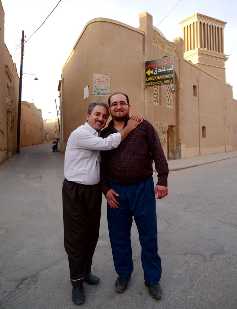 Two men in Yazd stopped and asked to have their picture taken.