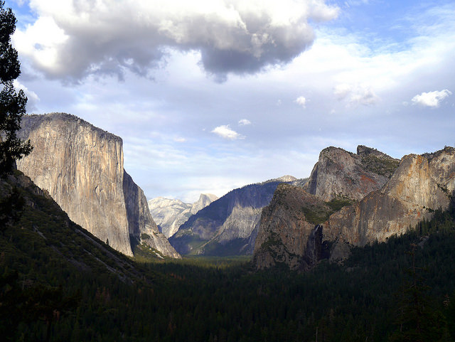 Looking down Yosemite Valley from Tunnel View